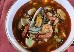 Resep Sup: Sup Pedas Seafood Tofu