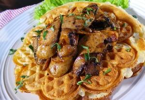 Resep Sarapan: Waffle Sosis Jamur